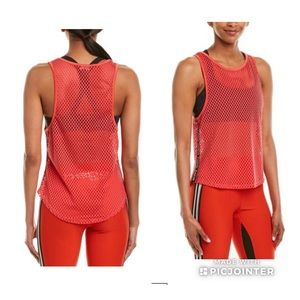 BEBE SPORT Open Mesh Tank Top Hibiscus red